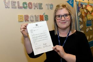 Brown's School headteacher Sally Howley with letter of commendation from Education Secretary. EMN-190802-095639001