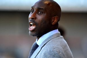 Former England captain Sol Campbell shouts instructions to his players during Macclesfield Town's 1-1 draw at Crawley Town.'Picture by Steve Robards