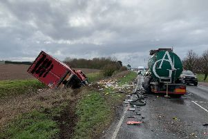 The scene of the collision between two lorries on the A17 at East Heckington this afternoon. Photo: Lincs Police. EMN-190603-154510001