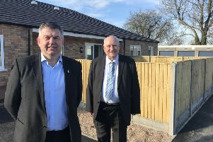 Council Leader Richard Wright and Ruskington ward councillor Terry Boston at the Northfield Road site. EMN-190803-175054001