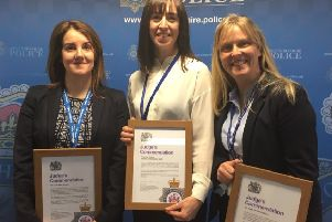 Awarded for their part in solving a case of police officer impersonation fraud. From left: Pc Kate Wood, Financial Investigator Jemima Cholmondeley-Smith, DS Kara Nicholson EMN-190104-105026001