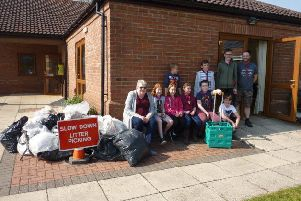 Volunteers at the Leasingham litter pick, organised by the local WI.