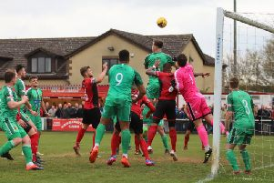 Goalmouth action from Kettering Town's 2-1 defeat to Alvechurch. Picture by Peter Short