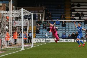 Marcus Maddison's free kick flies into the net in the game against Wycombe in March. Photo: Joe Dent/theposh.com.