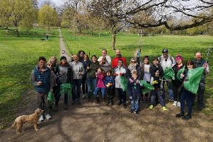 A group photo of the residents who took part in the litter pick in Priory Park.'Photo by Maria Denney.