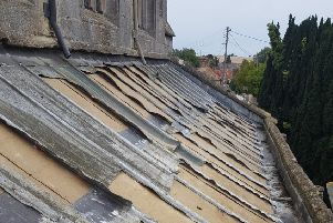 A section of the roof of Wilsford Church after lead was stolen.