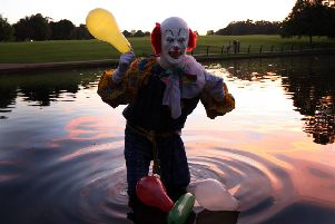 The killer clown craze hit the UK six years ago when a man dressed as a clown started scaring people in a Northampton park, mimicking the Stephen King film, It. Northampton Clown at Abington Park Lake. ENGNNL00120130922202227
