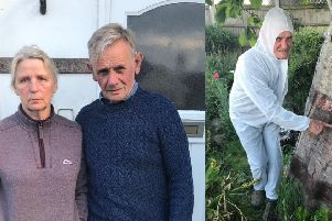 Diana and Fred Benton are living in white boiler suits to avoid 'toxic caterpillars'
