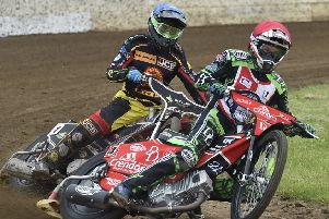 Panthers rider Charles Wright in action for Redcar in the Championship Fours. Photo: David Lowndes.