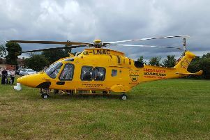 The Lincs and Notts Air Ambulance was called in to the Drivers 4 Defibs fun day after a man collapsed in the tug of war. EMN-190907-114841001