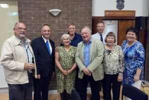 The Great Hale village hall team behind the radio event with Ken Clarke MP.