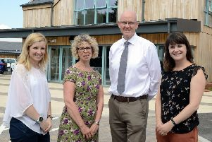 Lauren Kemp,director of fundraising and communications; Alison Moorey, chief executive officer at St Wilfrid's; Kevin Byrne and Catherine Price, major giifts and partnerships officer