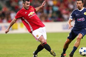 Keith Gillespie of the Manchester United Legends crosses the ball during the Manchester United Legends and the PFA Aussie Legends match at nib Stadium on March 25, 2017 in Perth, Australia. (Photo by Paul Kane/Getty Images)