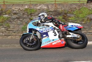 Michael Dunlop on the Team Classic Suzuki XR69 at the Classic TT in 2017.