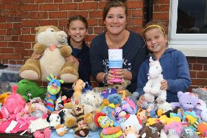 Charity fun day at Red Lion, Ruskington, for Hollies Animal Rehoming Trust. L-R Lottie Riley 10, Aggy Riley, Matilda Riley 7 running a Teddy Bear Tombola. EMN-190209-103248001