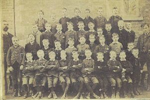The man on the left of this old image is John Nightingarl, Head Master of William Alvey School from 1870 to 1910. He would have agreed on the architect's plans of 1910. EMN-190829-165704001