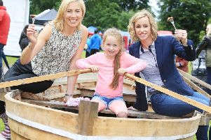 River to Lough Festival on Saturday 28 September. Pictured are: Cathy Chauhan of Lough Neagh Fishermans Co-operative Society, Macy Raphael (6) from Antrim, and Eimear Kearney of Lough Neagh Partnership.