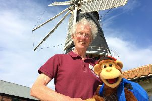Heckington Windmill mill manager Jim Bailey with 'Milkshake Monkey'.