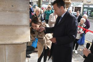 The Marquis and Marchioness of Bristol take the first drink from the restored Bristol Water Fountain.