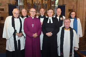 Licensing of The Reverend Philip Johnson as Rural Dean of Lafford,  at St Deny's Church, Sleaford. L-R Nigel Panting, Steve Holt, Bishop of Grantham Nicholas Chamberlain, Neil Knox, Rev Philip Johnson, David Norfield, Chris Harrington, Corinna Langridge. EMN-190710-171542001