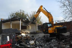 The former Sleaford Standard offices being demolished on Thursday afternoon.