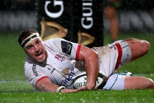 Ulster's Rob Herring scores a try against Zebre. Pic by INPHO.
