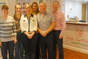 Dentist Richard Reynolds (second from right) retires after 30 years in the Rose Cottage dental practice in Sleaford. EMN-191018-165043001