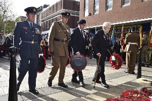 Remembrance Sunday in Peterborough City Centre.  Wreath laying at the memorial EMN-191011-212849009