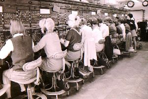 The women taking your calls at Sleaford Telephone Exchange in 1970. EMN-190711-165456001
