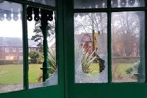 Shattered windows in the bandstand at Greylees. Photo: Sam Risdale EMN-191120-174312001