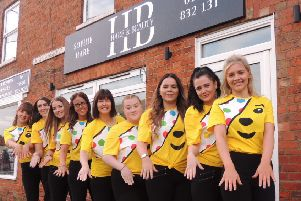 Sophie Hare and staff of Hare and Beauty in Ruskington at the start of their 24 hour beauty treatment marathon for Children In Need. EMN-191118-180341001