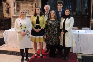 The six candidates standing for the Sleaford and North Hykeham seat in the General Election at the hustings in St Denys' Church. EMN-191126-155558001