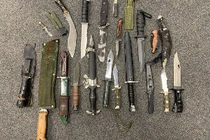 Knives handed into the police station at Lincoln. EMN-191220-182632001