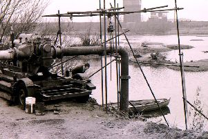 The ballast pits near Sleaford's Bass Maltings were being pumped out for the first time in centuries back in December 1970. EMN-191219-172225001