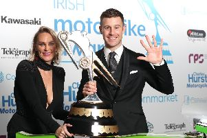 Jonathan Rea with his wife Tatia at the Irish Motorbike Awards in Belfast on Friday night.