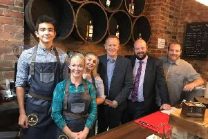 Councillor Paul Greenfield, Councillor Mark Baxter and Alderman Paul Rankin visit Barrel and Bean to wish staff every success with the new business.
