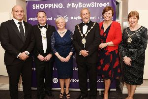 Dr Rory Best OBE, Evan Morton, Chamber President, Heather Morton, Mayor Cllr. Uel Mackin, M.C. Denise Watson and Lady Mayor Jennifer Mackin at the Lisburn Chamber of Commerce 56th Annual Dinner on at Larchfield Estate.