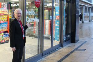 Councillor Peter Smith at the new Crawley store