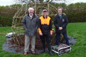 Bill Pollock, Clive Lyttle and Steve Diamond at the willow dome.