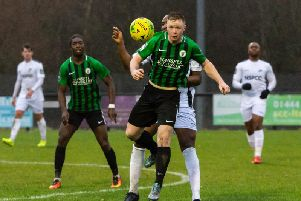Ben Pope in action against Carshalton Athletic earlier in the season