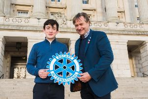 James Faloon from Dungannon took part in Rotary Ireland's Youth Leadership Development Competition. He is pictured here at Stormont with William Cross, Incoming District Governor for Rotary Ireland.