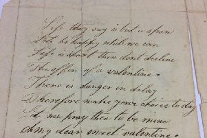 The verse on the inside of the Valentine's card, which sold for more than 7,000 at auction today