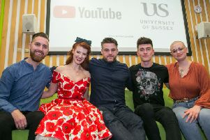 Youtubers spoke to students at the University of Sussex