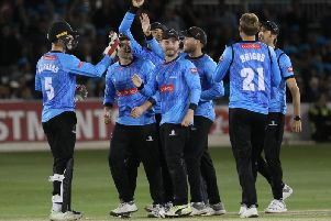 The Sharks celebrate Blast success v Middlesex last season / Picture: Sussex Cricket