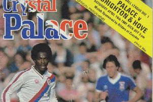 The front cover of the programme when Albion played  Palace in 1981