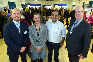 Pictured at the recent Health Hub exhibition ... from left, Dr Dan Elliot, Seaford Medical Practice; Cllr Liz Boorman, Lewes District Council; Dr Raj Chandarana, Old School Surgery; and Cllr Andy Smith, Leader of Lewes District Council SUS-190802-094205001