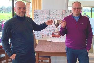 Little Hay GC Winter League winners Mick Whelan and Phil Jefferson.