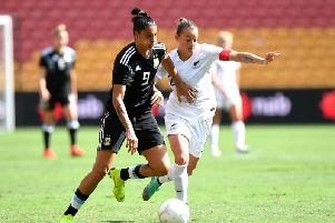 Katie Rood and Agustina Barrosso challenge for the ball during the 2019 Cup of Nations match between Argentina and New Zealand at Suncorp Stadium in Brisbane, Australia. (Photo by Bradley Kanaris/Getty Images)