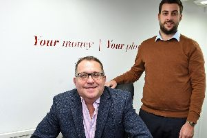 (left) Jason Eldrid with (right) Frankie Davis, a University of Portsmouth business studies intern,  at Sheraton Financial Planning, in Bridge Street, Wickham 'Picture by:  Malcolm Wells