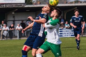 Reece Meekums battles for the ball as the Rocks host Whitehawk / Picture by Tommy McMillan